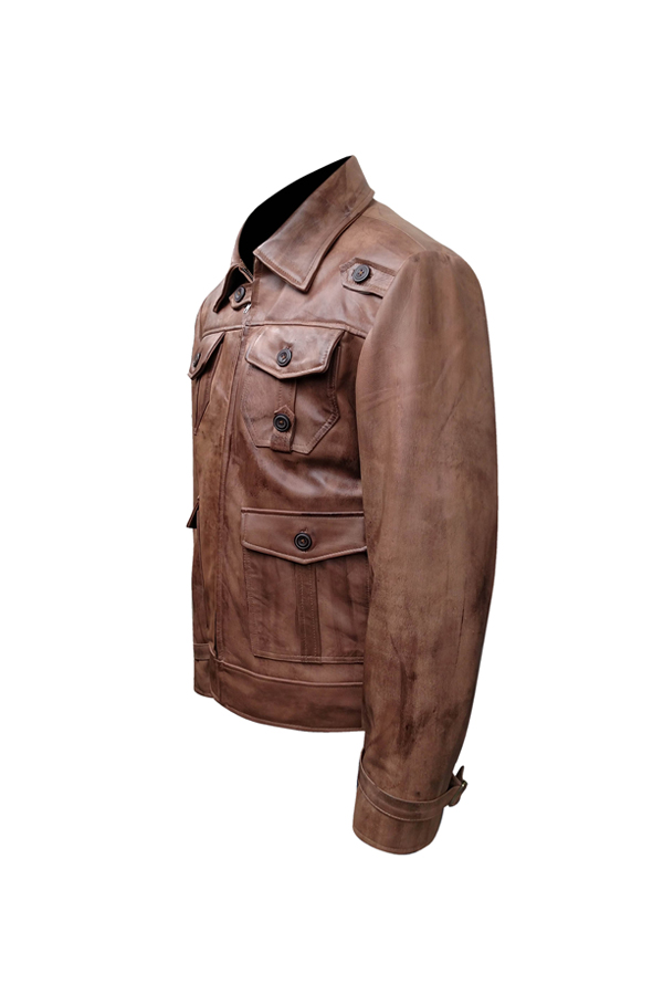 Antique Four Pocket Waxed Brown Leather Jacket