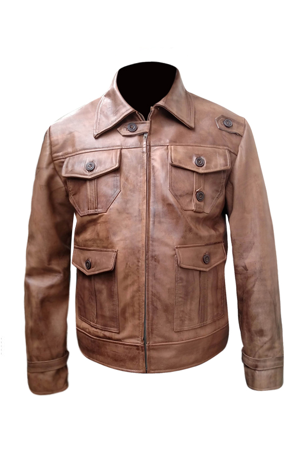 Antique Four Pocket Waxed Brown Leather Jacket (4)