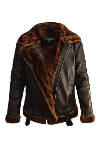 Mens Aviator B3 Bomber Sherling Leather Jacket
