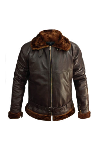 Mens Aviator B3 Bomber Sherling Leather Jacket