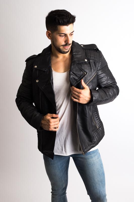 Mens Black Biker Leather Jacket-1-2