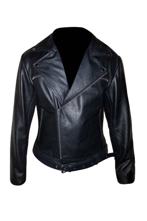 Mens Black Biker Leather Jacket (2)