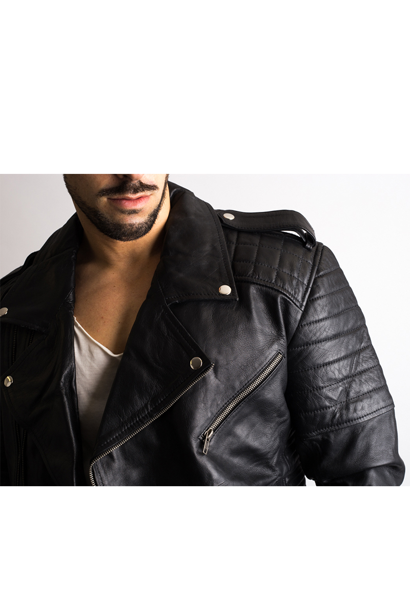 Mens Black Biker Leather Jacket