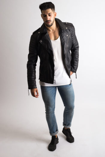 Mens Black Quilted Biker Leather Jacket