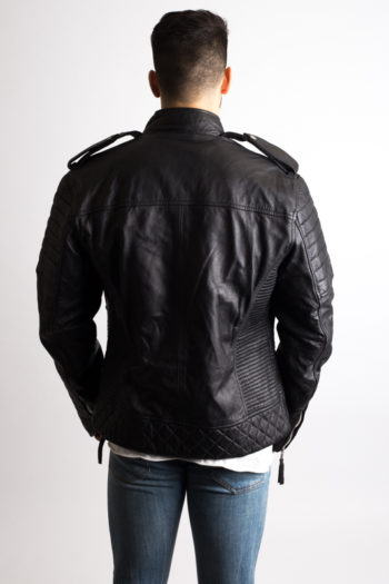Mens Black Quilted Motorcycle Leather Jacket
