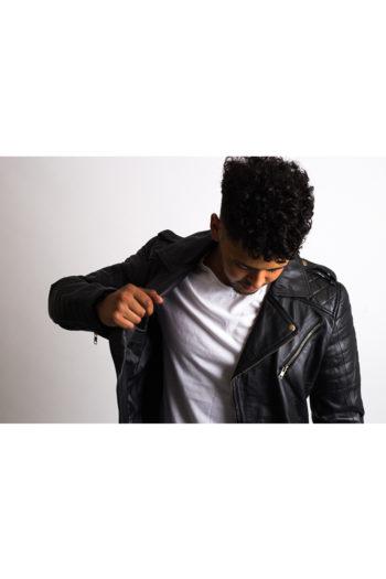 Mens Black Slim Fit Biker Leather Jacket