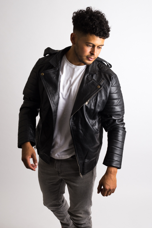 Mens Black Vintage Motorbike Leather Jacket