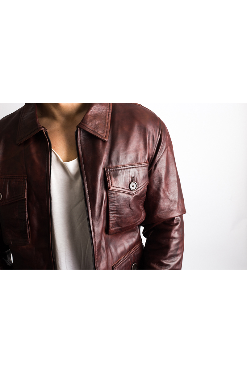 Mens Maroon Bomber Leather Jacket