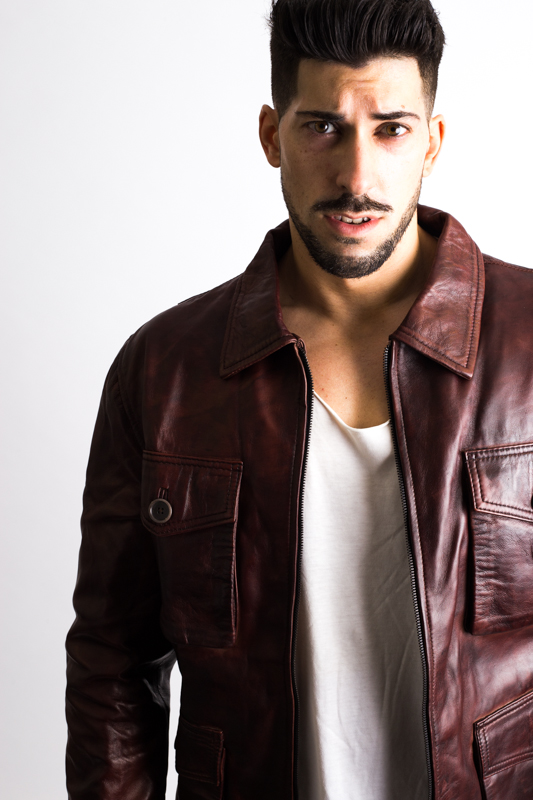 Mens Maroon Bomber Leather Jacket-3