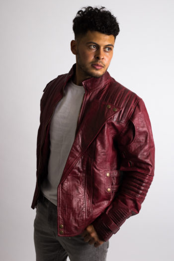 Mens distressed maroon leather jacket