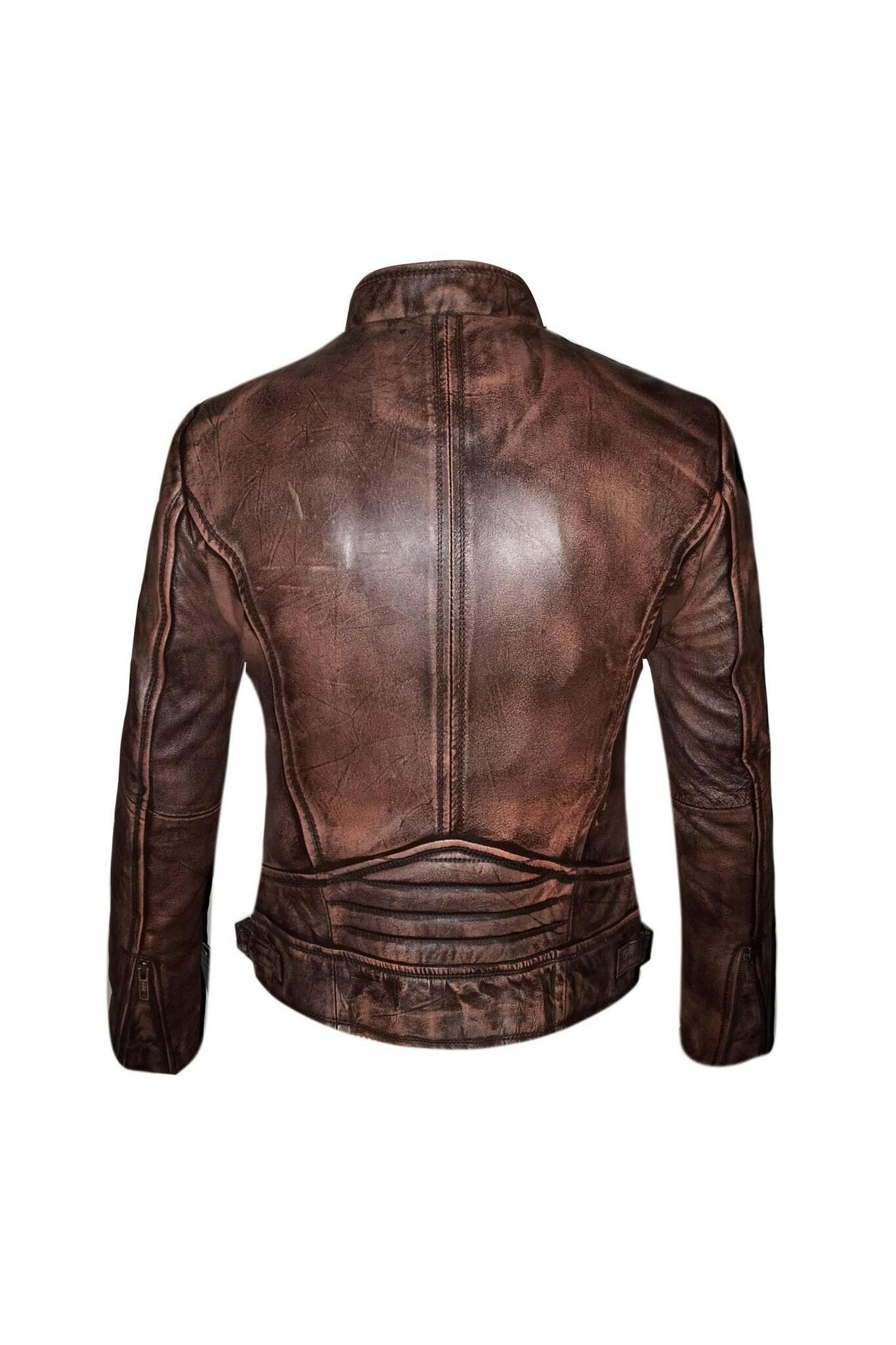 Biker Moto Distressed Leather Jacket