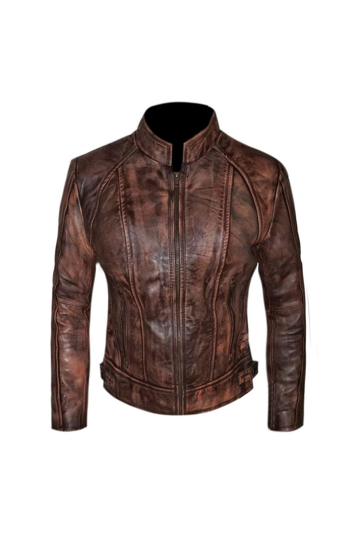 Biker Moto Distressed Leather Jacket-4