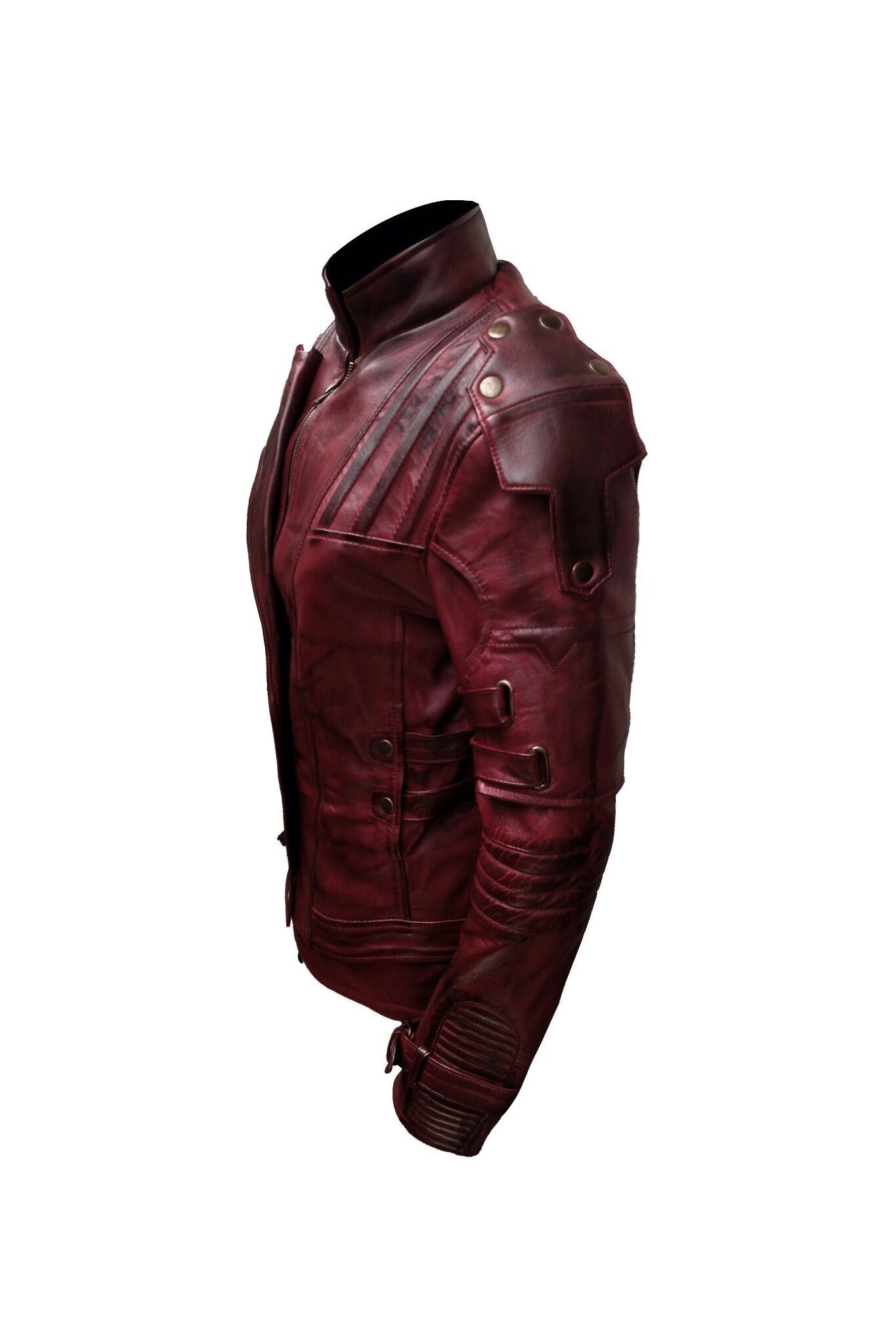 Distressed Maroon Leather Jacke