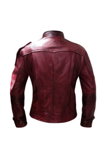 Distressed Maroon Leather Jacke