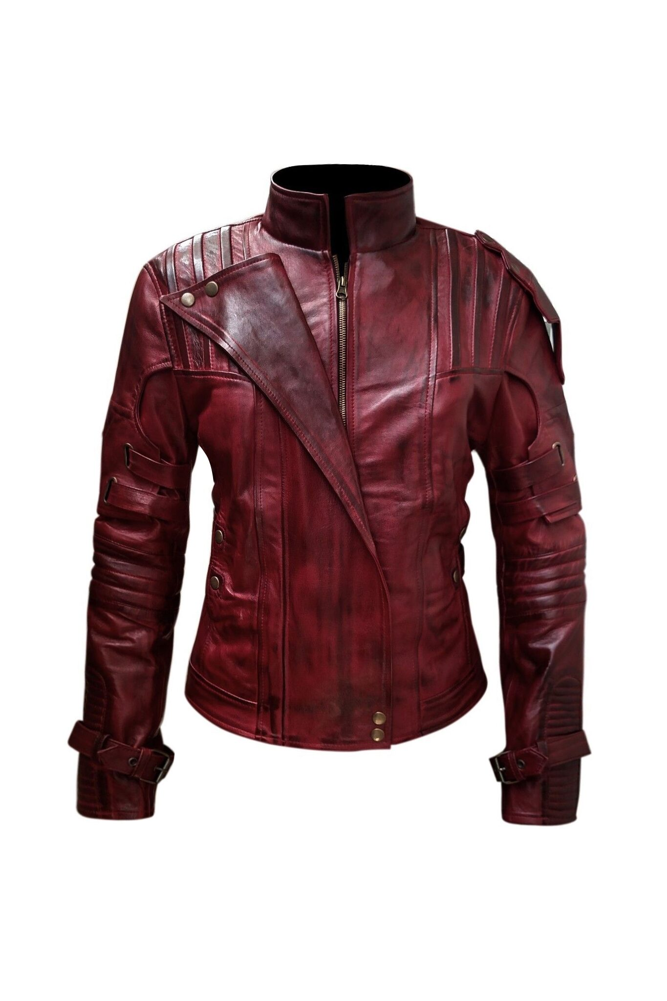 Distressed Maroon Leather Jacket-3-1