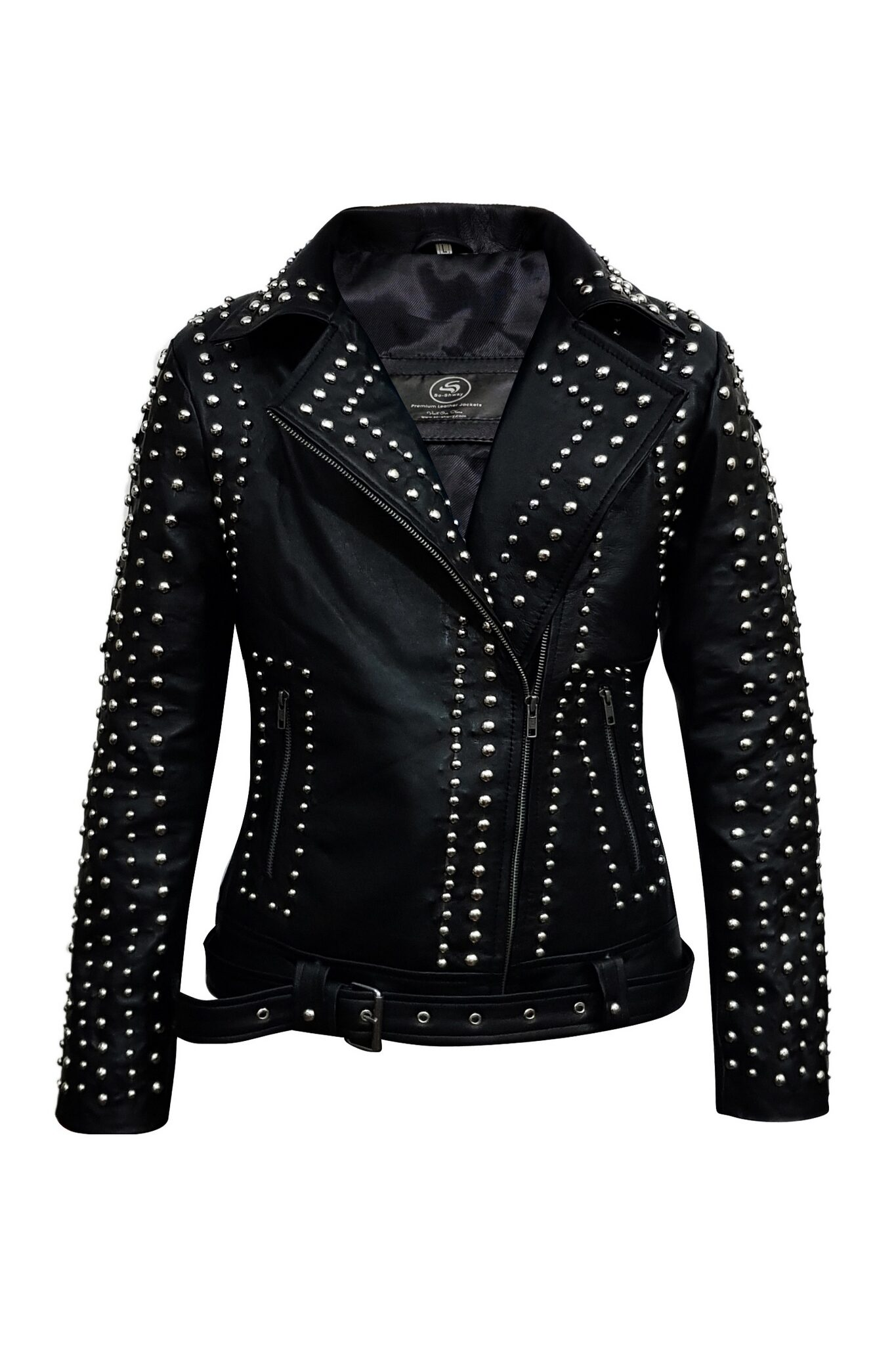 Eva Studded Vintage Biker Leather Jacket-6