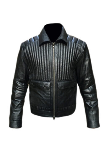 Antonio Paded Black Leather Jacket
