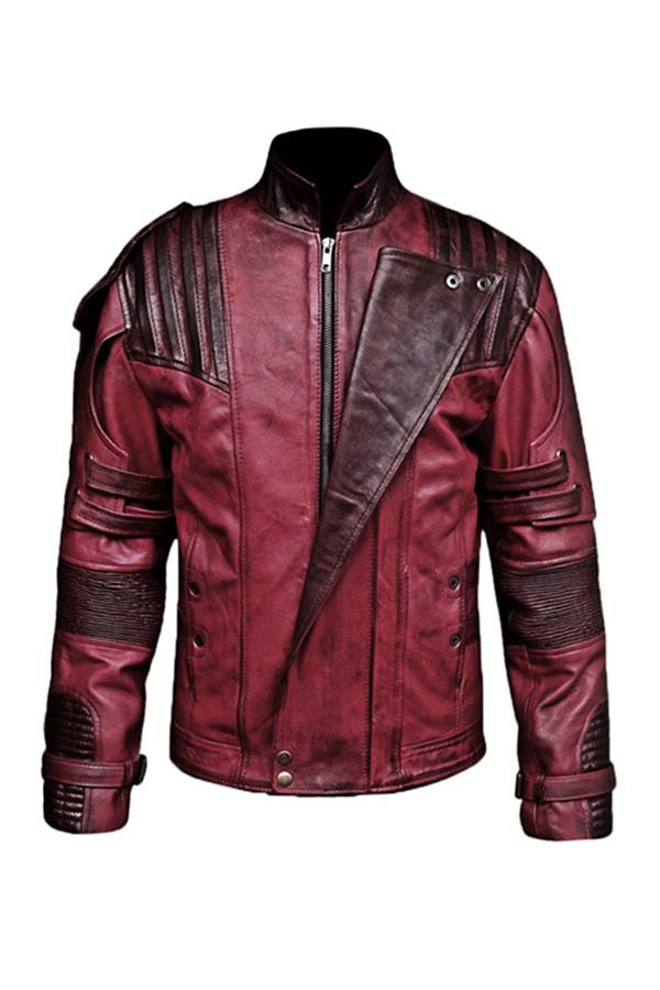 Mens Maroon Wax Sheepskin Biker Leather Jacket (1)