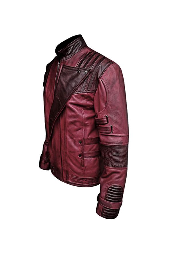 Mens Maroon Wax Sheepskin Biker Leather Jacket