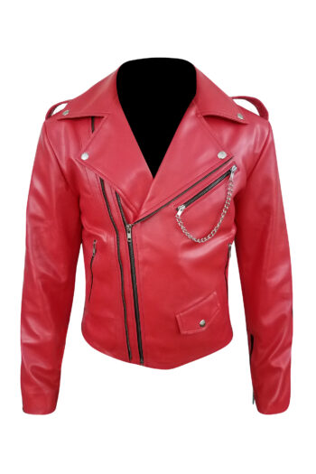 Mens-Red-Biker-Leather-Jacket