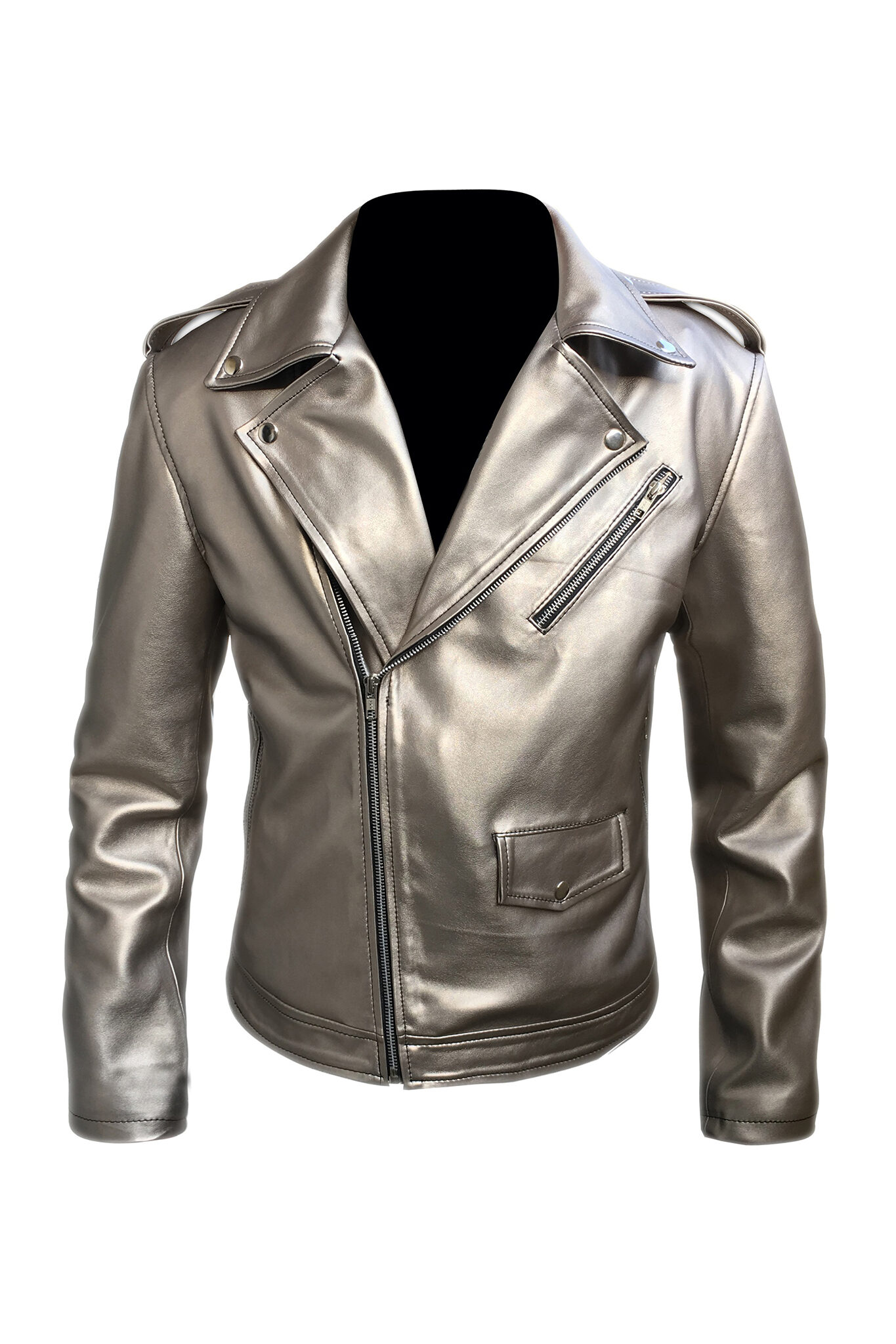 Mens Silver Faux Leather Jacket1