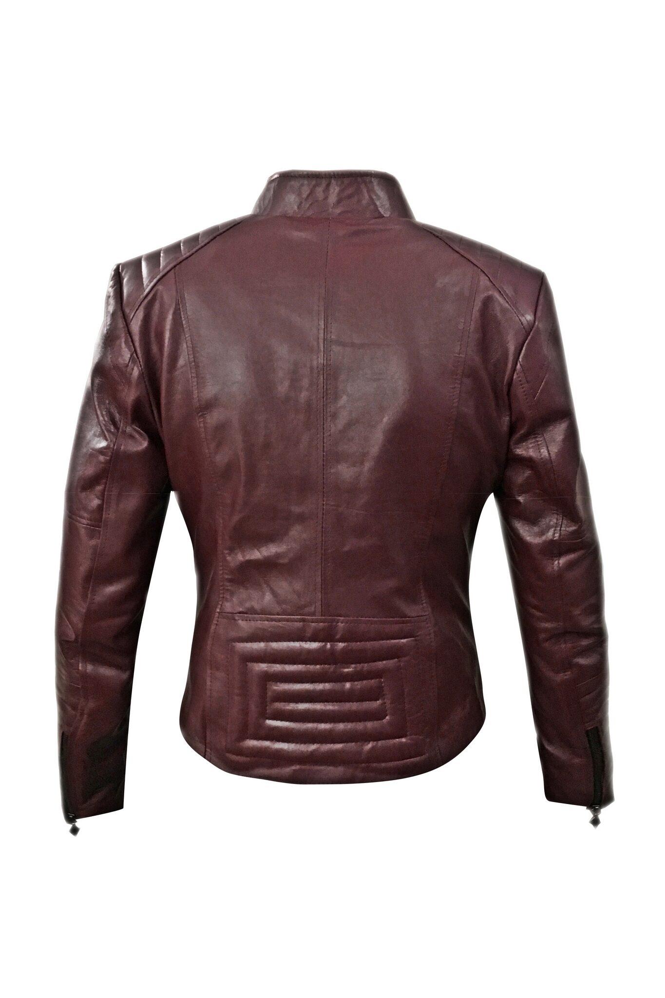 Women Maroon Biker Leather Jacket