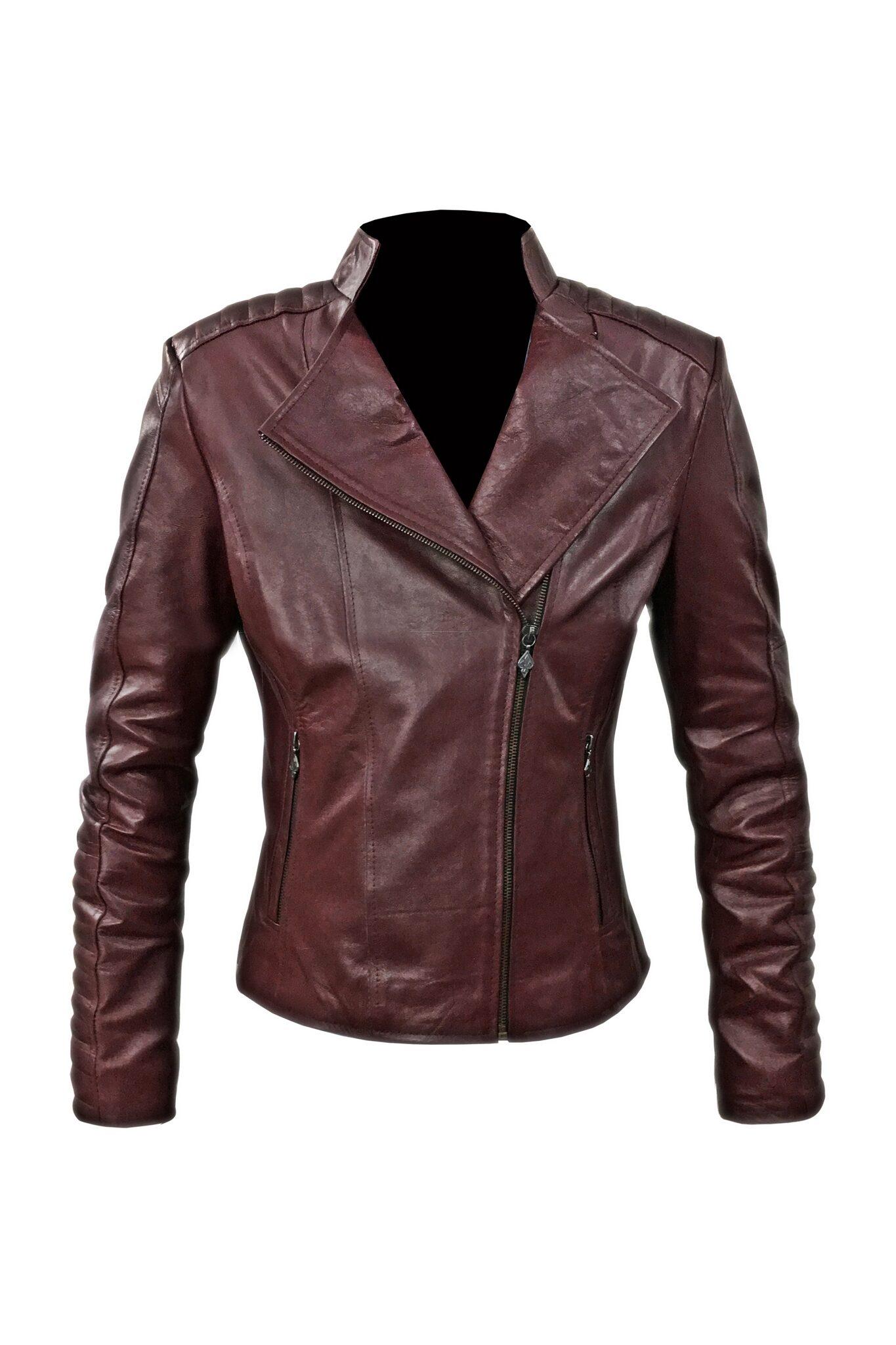 Women Maroon Biker Leather Jacket-2