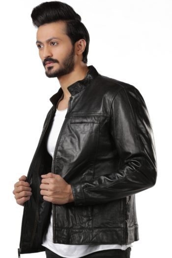 Mason Black Slim Fit Motorbike Leather Jacket