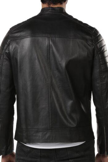 Aron Biker Leather Jacket - Black