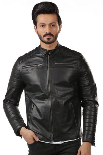 Aron Biker Leather Jacket – Black