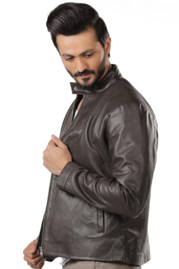 Aron Biker Leather Jacket – Brown