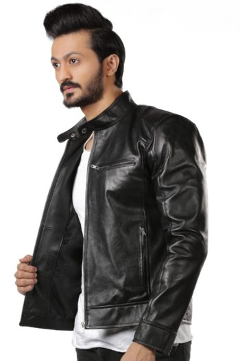 Aron Slim Fit Biker Leather Jacket