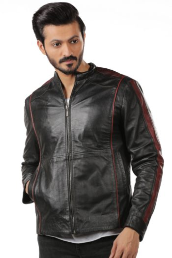 Black Biker Leather Jacket – Red Stripes