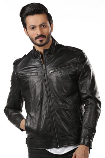 Black Vintage Biker Leather Jacket