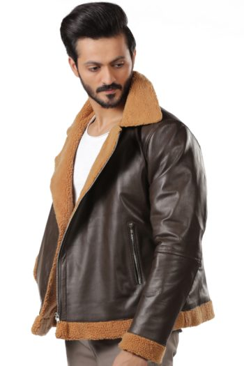 Mens Aviator Sheepskin Shearling Brown Bomber Flying Leather Jacket