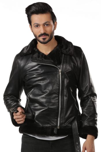 Mens Black Aviator Sheepskin Leather Biker Jacket