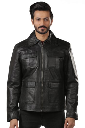 Mens Four Pockets Black Leather Jacket