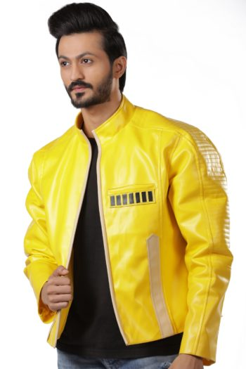 Mystic Yellow Leather Biker Jacket