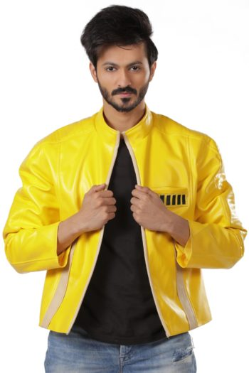 Myst Yellow Leather Biker Jacket