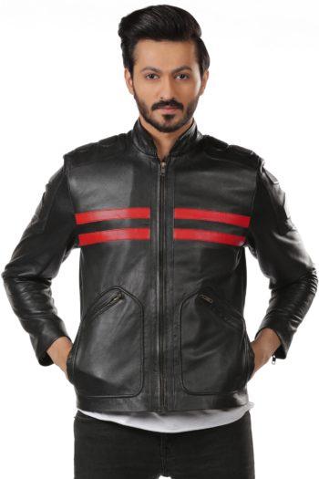 Ox Black Slim Fit Motorbike Leather Jacket – Red Stripes