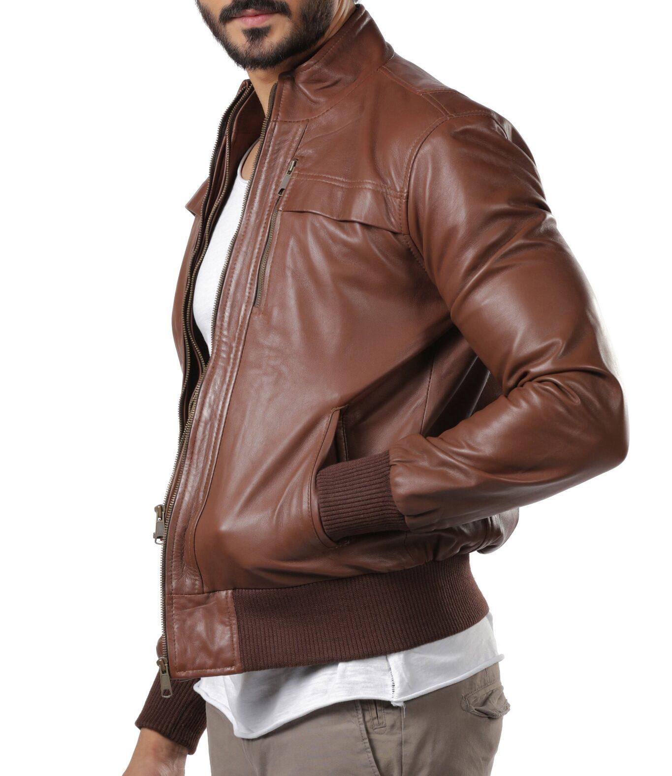 Zach Slim Fit Leather Jacket