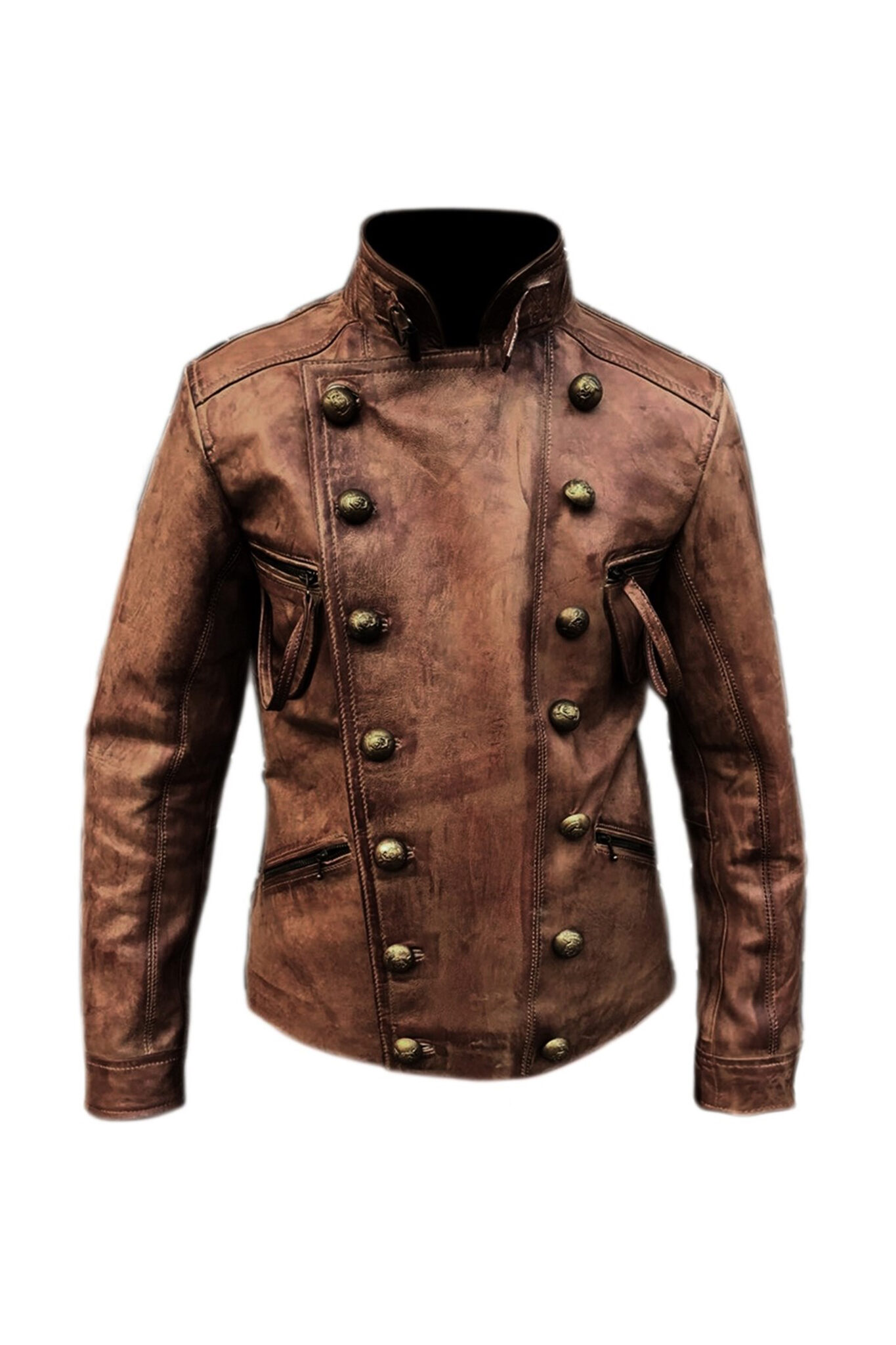Aqua distressed brown waxed leather jacket for men's1