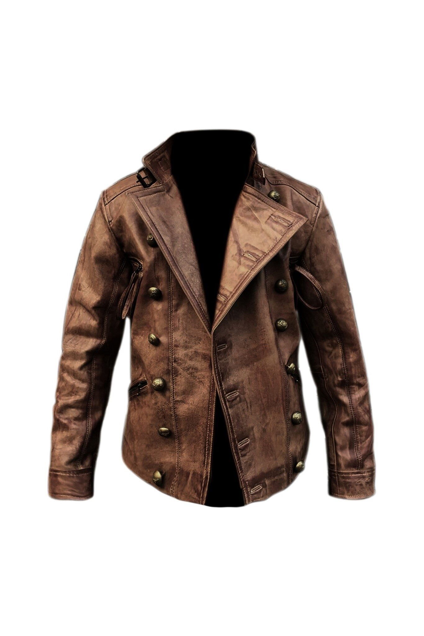 Aqua distressed brown waxed leather jacket for men's