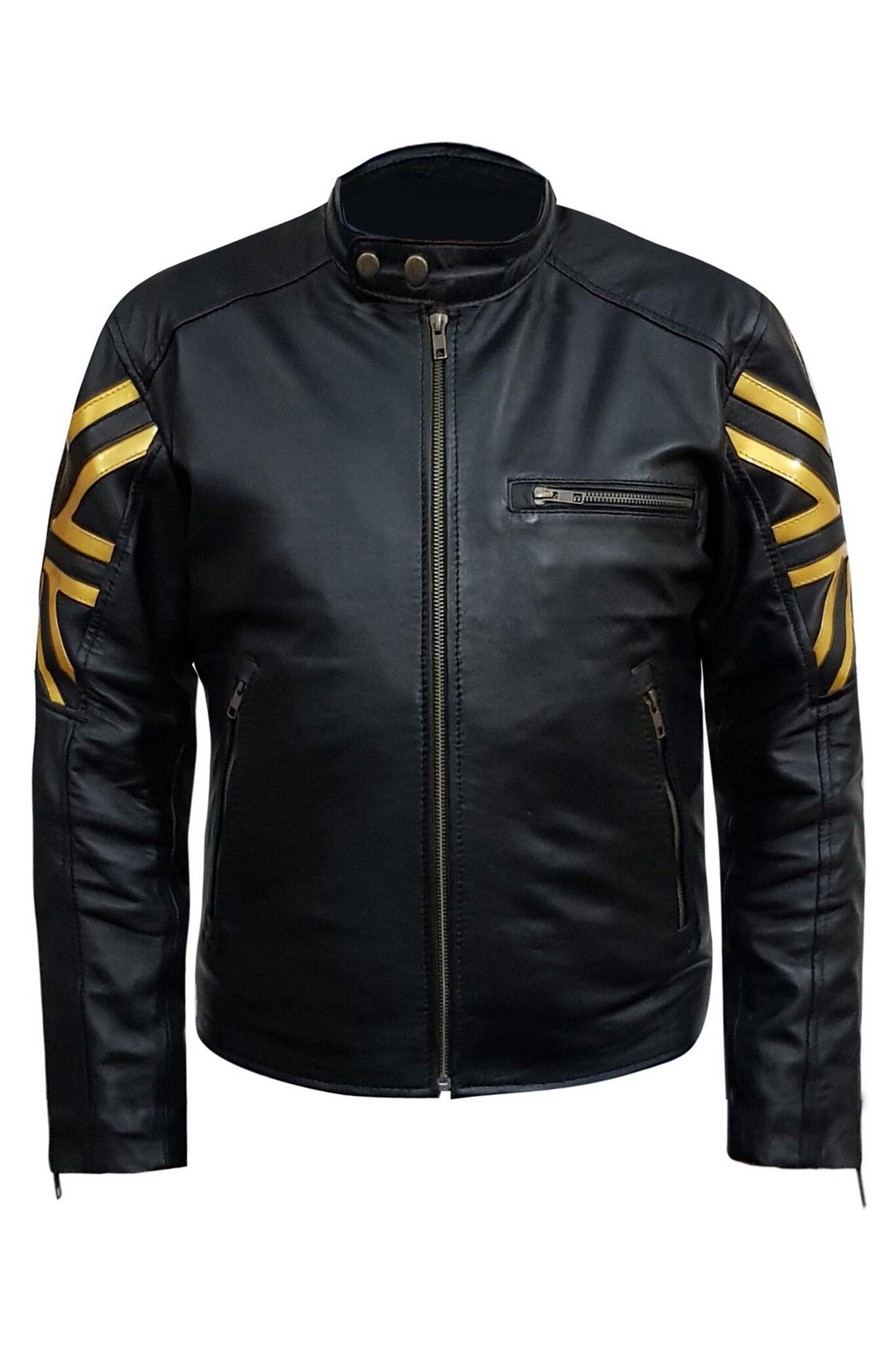 Black Uk Black Biker Sheepksin Leather Jacket5