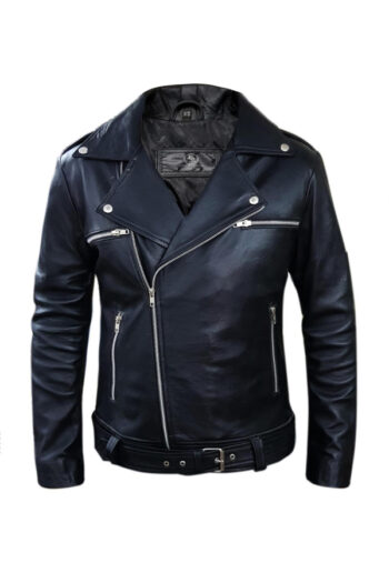 Brando Black Biker Genuine Motorcycle Leather Jacket