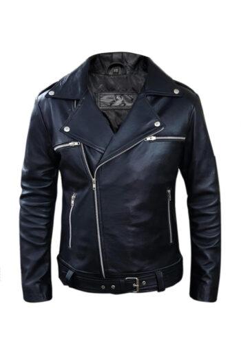 Brando Black Biker Genuine Motorcycle Leather Jacket