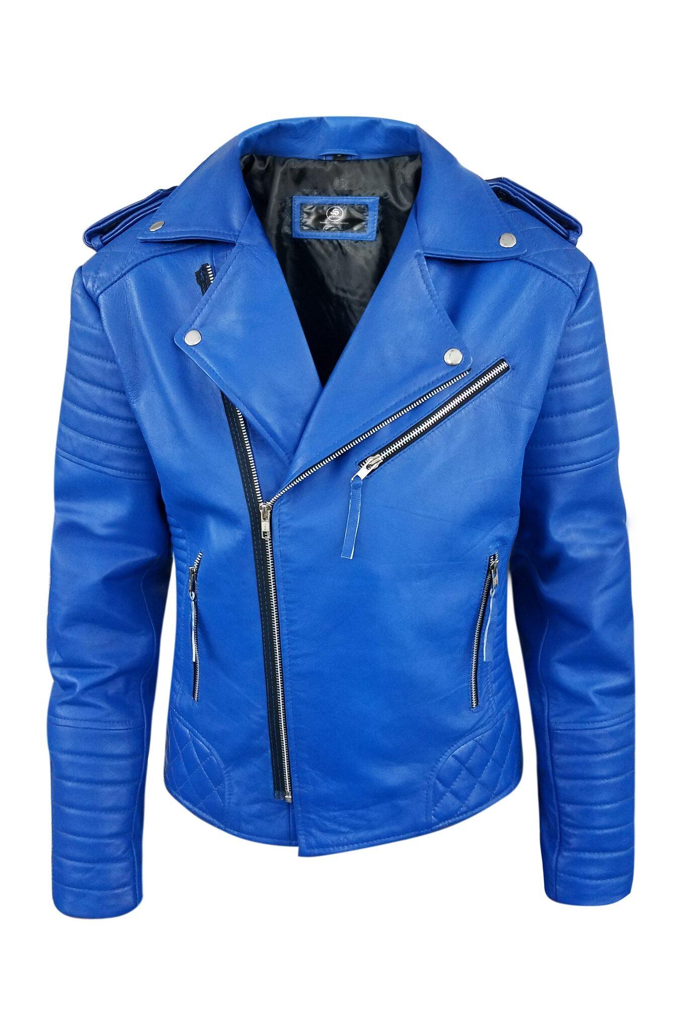 Brando Blue Biker Genuine Motorcycle Leather Jacket For Mens-8