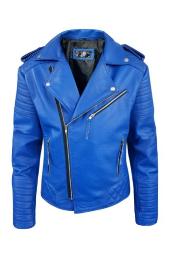Blue Biker Genuine Motorcycle Leather Jacket For Mens