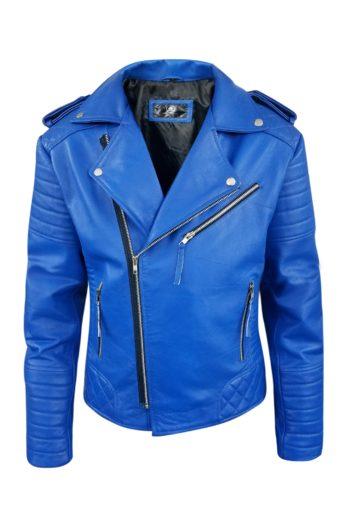 Blue Biker Genuine Motorcycle Leather Jacket For Mens