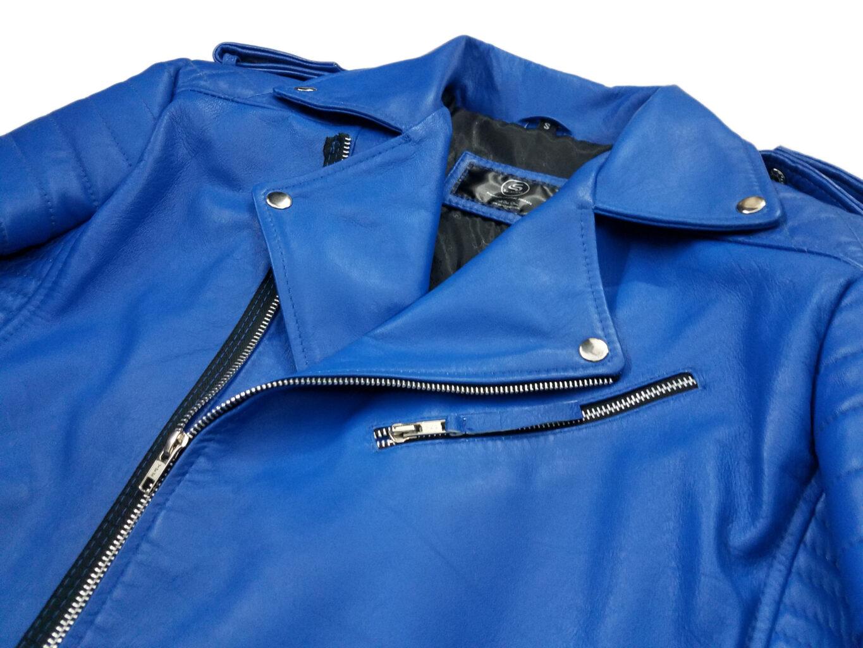 Brando Blue Biker Genuine Motorcycle Leather Jacket For Mens